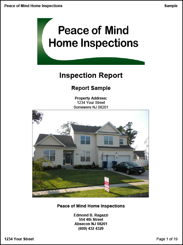 Sample Inspection Report Peace Of Mind Home Inspections